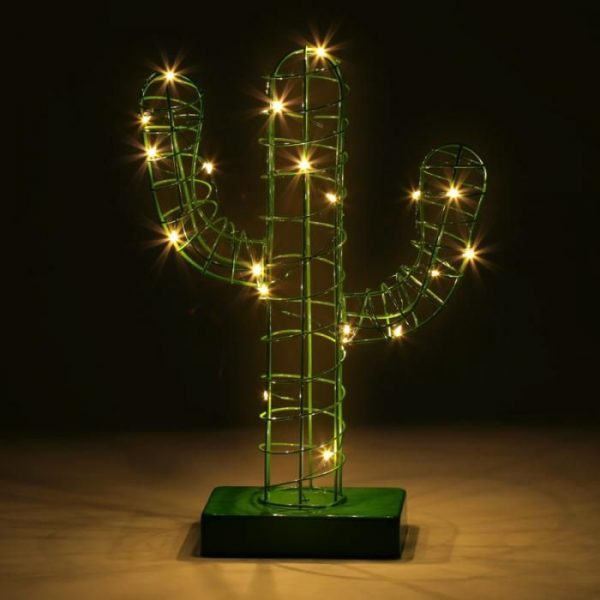 Decorazione con LED in Metallo Cactus