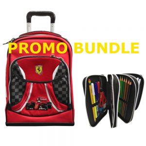 PROMO Zaino organizzato Trolley + Astuccio 3 zip completo Ferrari