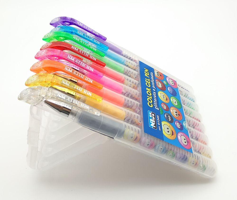 1 confezione x 8 penne gel NIJI colorate con brillantini e profumate