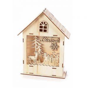 Casetta in legno con paesaggio natalizio e luce Led